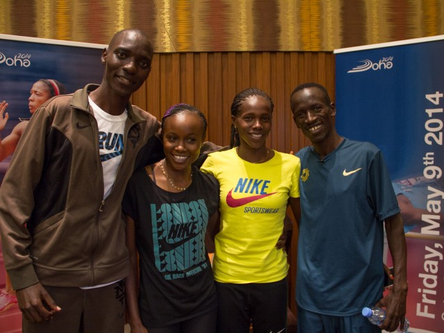 Kenyan athletes Asbel Kiprop, Eunice Sum, Ezekiel Kemboi and Mercy Cherono met with the media at the Intercontinental – The City Hotel / Photo credit: IDL Doha