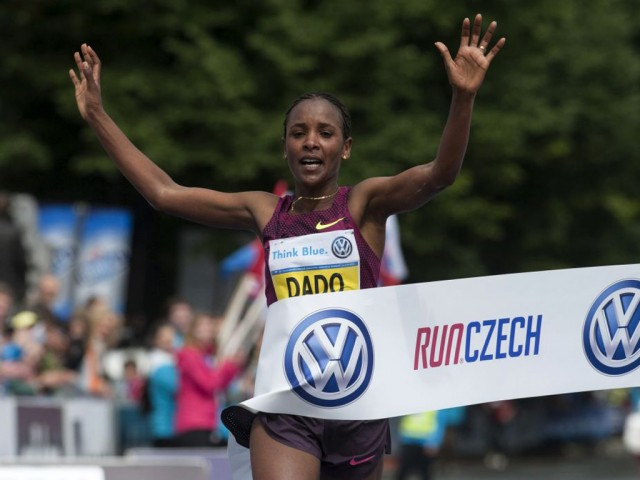 Prague Marathon 2014 women's race winner  Firehiwot Dado / Photo credit: Volkswagen Prague Marathon