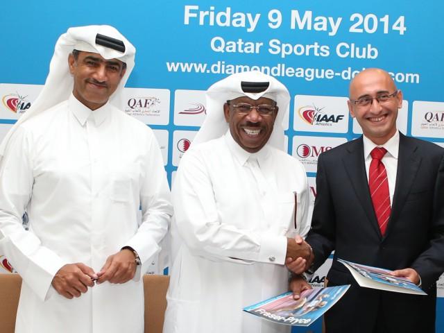 Qatari OC officials at the first leg of the 2014 IAAF Diamond League in Doha