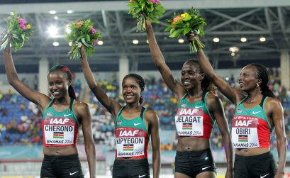 Kenya's women's 4x1500m quartet, Mercy Cherono, Faith Kipyegon, Irene Jelagat and Hellen Obiri celebrate after setting the World Record / Photos credit: Derek Smith