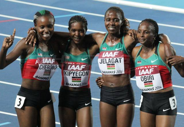 Kenya's women's 4x1500m quartet (Mercy Cherono, Faith Kipyegon, Irene Jelagat and Hellen Obiri)/ Photos credit: Derek Smith