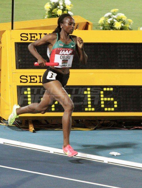 Kenyan women's 4x1500m star Hellen Obiri on the way to setting the World Record at Nassau 2014 / Photos credit: Derek Smith