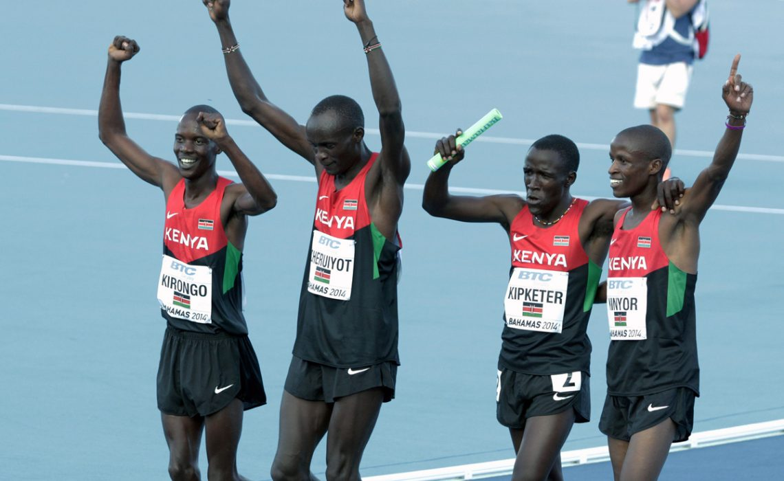 Kenyans Sammy Kibet, Job Koech Kinyor, Ferguson Cheruiyot Rotich and Kirongo Alfred Kipketer celebrate after winning the mens 4x800 metres relay / Photos credit: Derek Smith