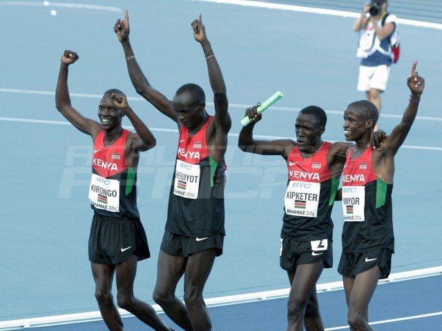Kenyans Sammy Kibet, Job Koech Kinyor, Ferguson Cheruiyot Rotich and Kirongo Alfred Kipketer celebrate after winning the mens 4x800 metres relay / Photos credit: Derek Smith