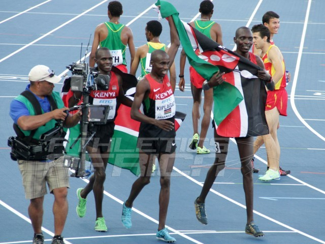 Kenya's quartet of Collins Cheboi, Silas Kiplagat, James Magut and Asbel Kiprop sets a new World record of 14:22.22 in the Men's 4x1500m / Photo credit: Derek Smith