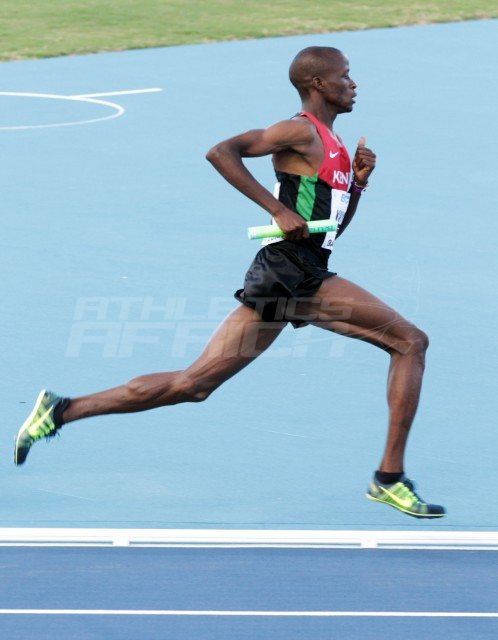 Kenyans Job Koech Kinyor in the mens 4x800 metres relay / Photos credit: Derek Smith