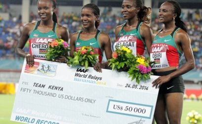 Kenya's women's 4x1500m quartet (Mercy Cherono, Faith Kipyegon, Irene Jelagat and Hellen Obiri)/ Photos credit: Derek Smith
