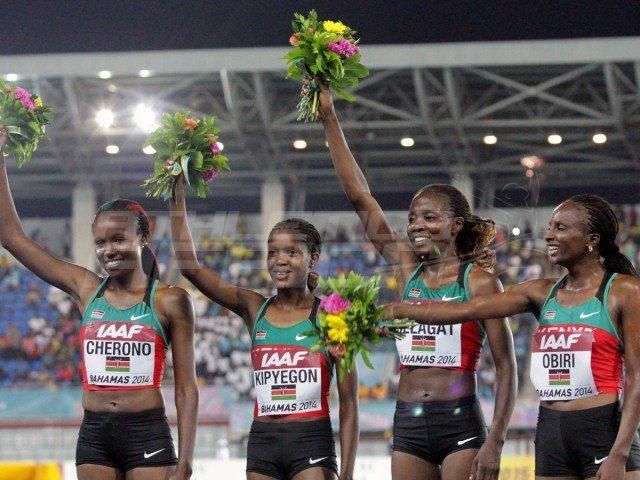 Kenya's women's 4x1500m quartet, Mercy Cherono, Faith Kipyegon, Irene Jelagat and Hellen Obiri celebrate after setting the World Record / Photos credit: Derek Smith