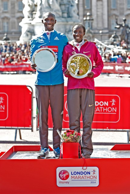 2014 London Marathon winners - Wilson Kipsang and Edna Kiplagat