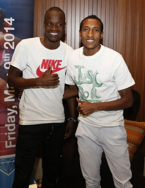 African 800m stars Mohammed Aman of Ethiopia and Nijel Amos of Botswana at the 2014 IAAF Diamond League in Doha / Photo credit: Doha LOC.