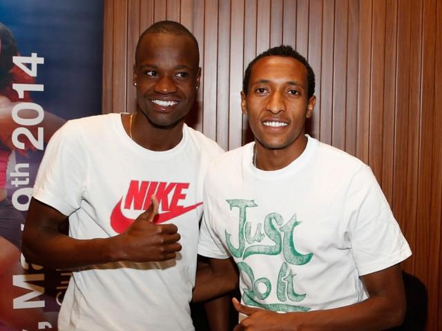 African 800m stars Mohammed Aman of Ethiopia and Nijel Amos of Botswana / Photo credit: Doha LOC