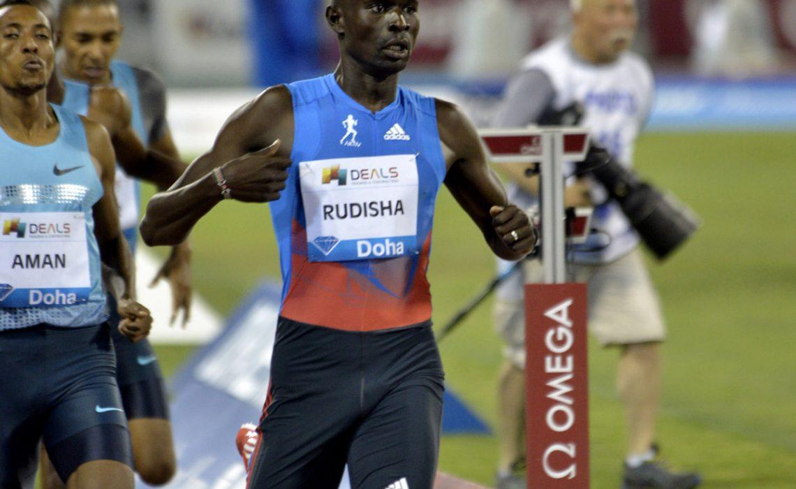 Kenya's David Rudisha ahead of World 800m champion Mohammed Aman of Ethiopia