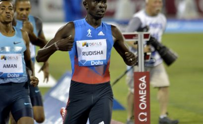 Kenya's David Rudisha ahead of World 800m champion Mohammed Aman of Ethiopia