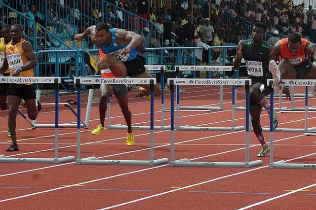 Tyron Atkins wins men's 110m Hurdles title at the 68th All-Nigerian Athletics Championships in Calabar, Nigeria / Photo Credit: ShengolPix