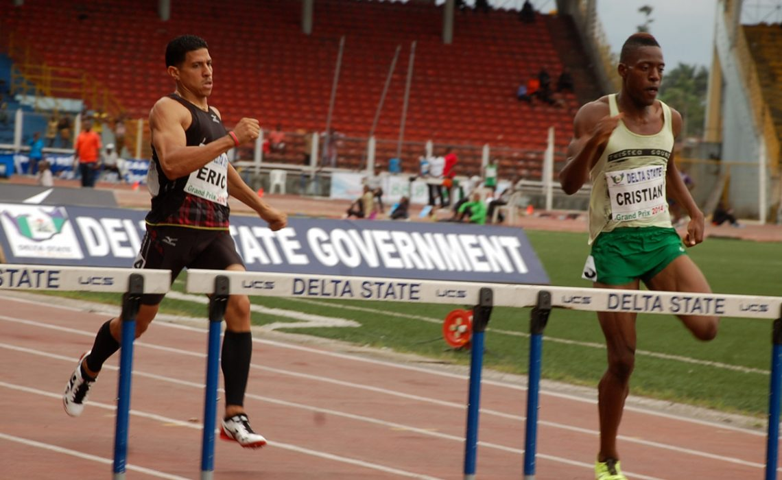 Nigeria's Amaechi Cristian Cuevas Morton in action at the 2014 Warri Relays at the Warri Township Stadium.