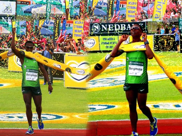 South Africa's Bongmusa Mthembu claimed the 2014 Comrades Marathon title in Durban
