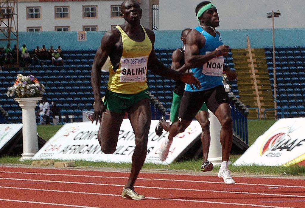 Isah Salihu wins men's 400m race ahead of Noah Akwu at the 68th All-Nigerian Athletics Championships in Calabar.