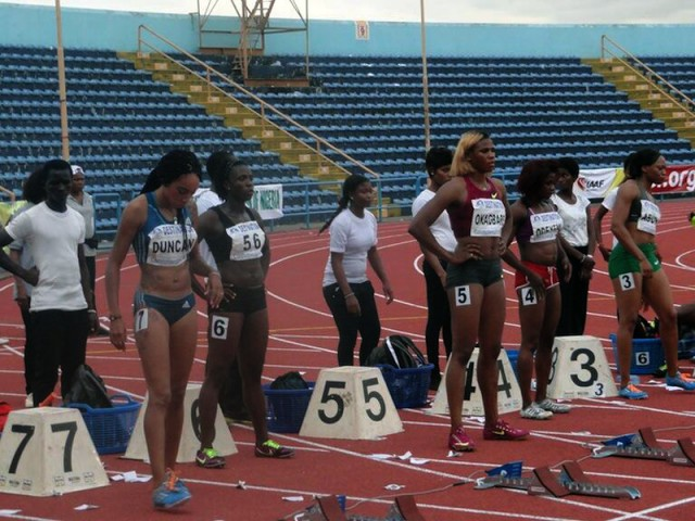 Blessing Okagbare at the start of the women's 100m finals - 2014 All Nigeria Athletics Championships in Calabar, Nigeria.