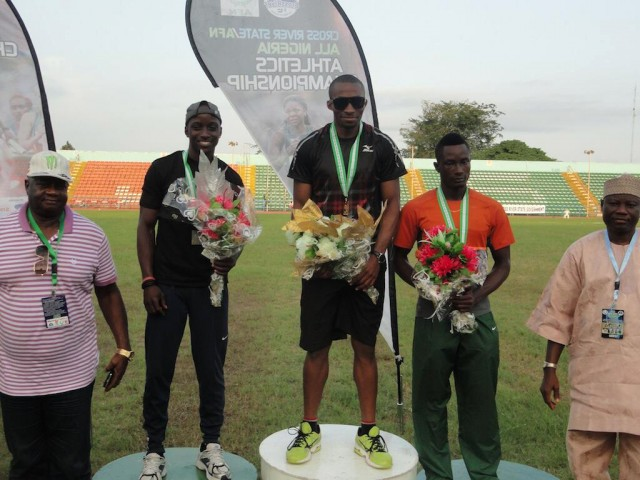 Tosin Oke with podium medallists at the 2014 All Nigeria Athletics Championships in Calabar, Nigeria.