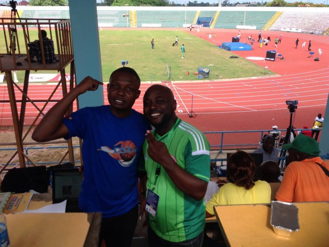 AthleticsAfrica's Tunde Eludini at the Media Tribune with Sunny Oluku Oke of SportsDay Newspapers at the 68th All-Nigerian Athletics Championships in Calabar.
