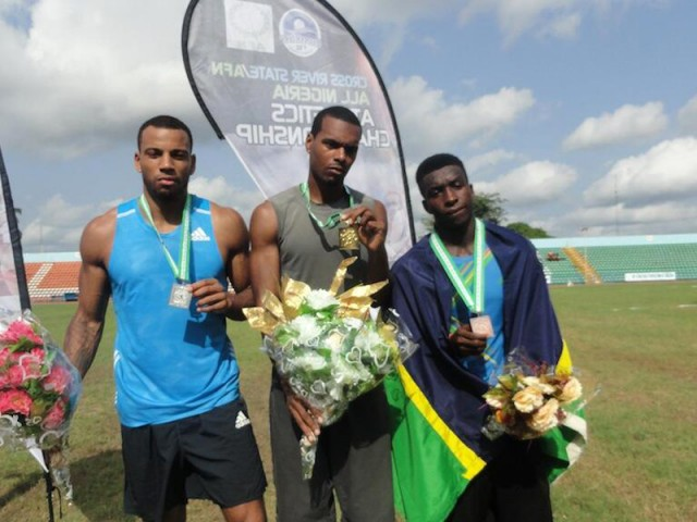 Tyron Atkins with podium medallists at the 2014 All Nigeria Athletics Championships in Calabar, Nigeria.