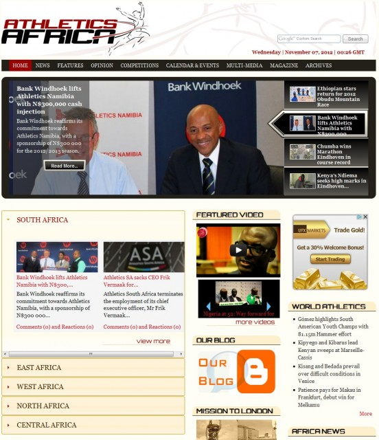 The AthleticsAfrica.Com Website redesign and move to Drupal cms in 2008.