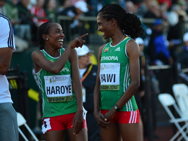 Alemitu Haroye celebrates with Ethiopian teammate Alemitu Hawi after winning the 5000m title with a time of 15:10.08 at the 2014 IAAF World Junior Championships - Oregon 2014 / Photo credit: TrackTown Photo