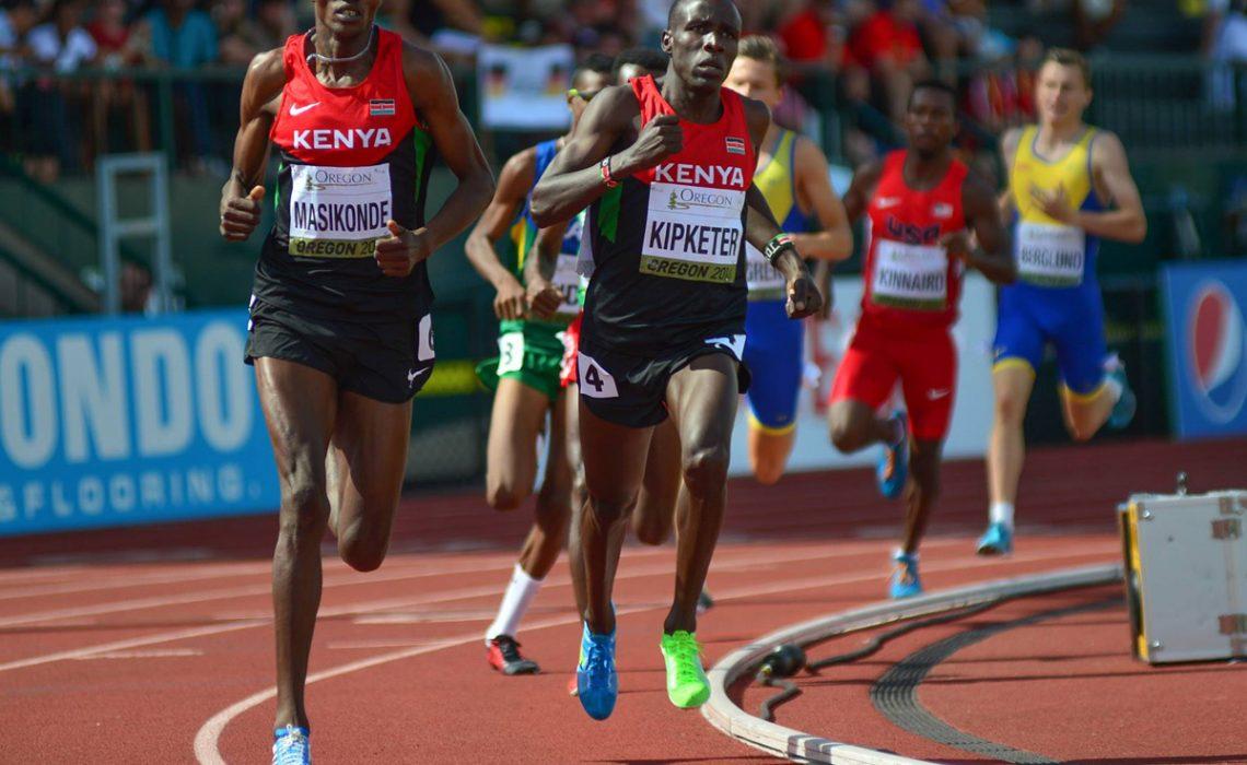 Kenyan Alfred Kipketer leading his countryman Joshua Tiampati Masikonde a podium 1-2 in the men's 800m at the 2014 IAAF World Junior Championships - Oregon 2014 / Photo credit: TrackTown Photo