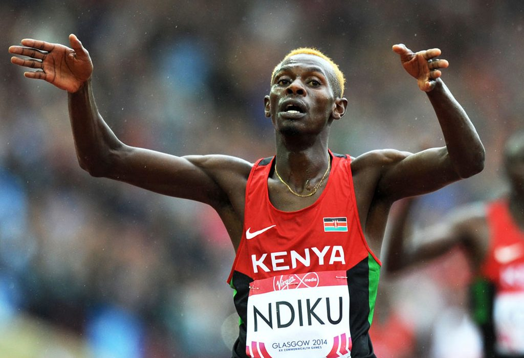 Kenya's Caleb Mwangangi Ndiku won the men's 5,000m gold and compatriot Flomena Cheyech Daniel took the women's marathon gold on day 1 of the 2014 Commonwealth Games in Glasgow.