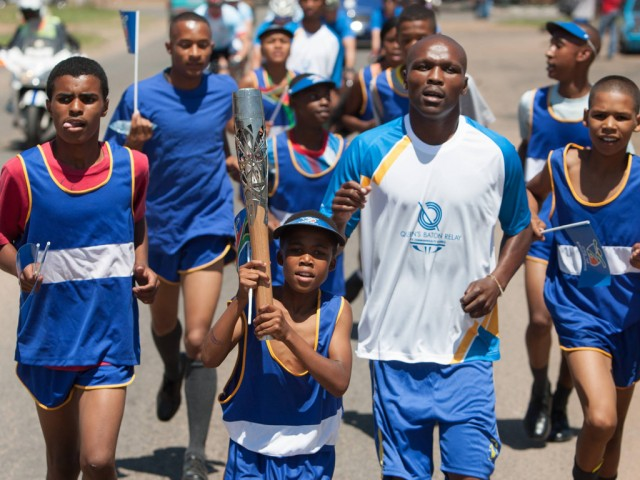The Queen's Baton relayed through Reiger Park, Johannesburg, South Africa, on Tuesday 11 February 2014 / Glasgow 2014 OC Flickr