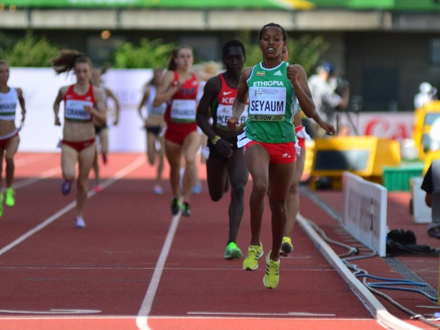 Ethiopian 'class act' Dawit Seyaum cruising home to take the women's 1500m gold at the 2014 IAAF World Junior Championships - Oregon 2014 / Photo credit: Tracktown