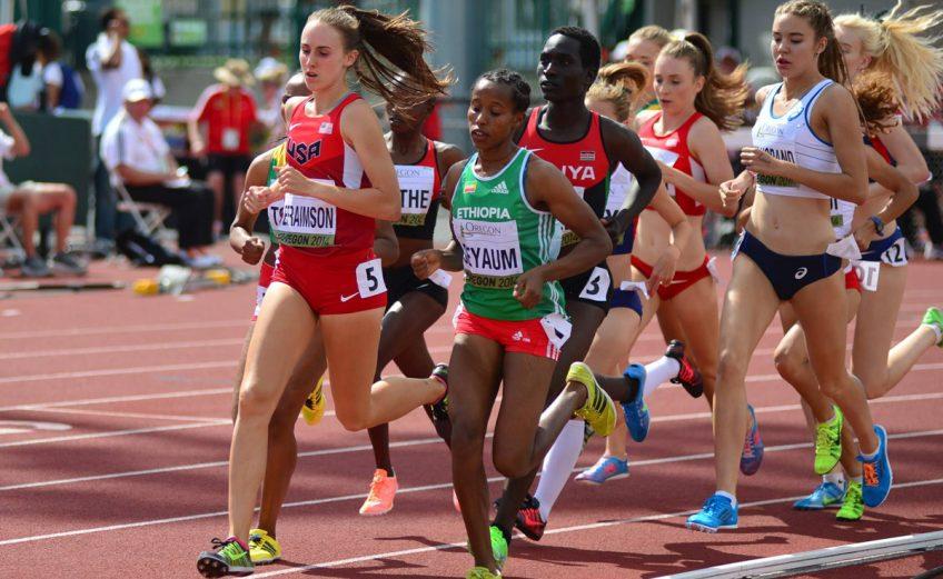 Ethiopian 'class act' Dawit Seyaum cruising home to take the women's 1500m gold at the 2014 IAAF World Junior Championships - Oregon 2014 / Photo credit: TrackTown