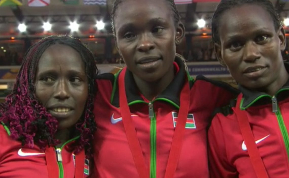 Kenyans Joyce Chepkirui, Florence Kiplagat and Emily Chebet