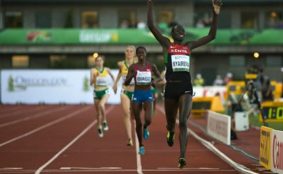 Kenyan Margaret Nyairera wins the women's 800m in a personal best time of 2:00.49 at the 2014 IAAF World Junior Championships - Oregon 2014. Photo credit: Jeffrey Mercado