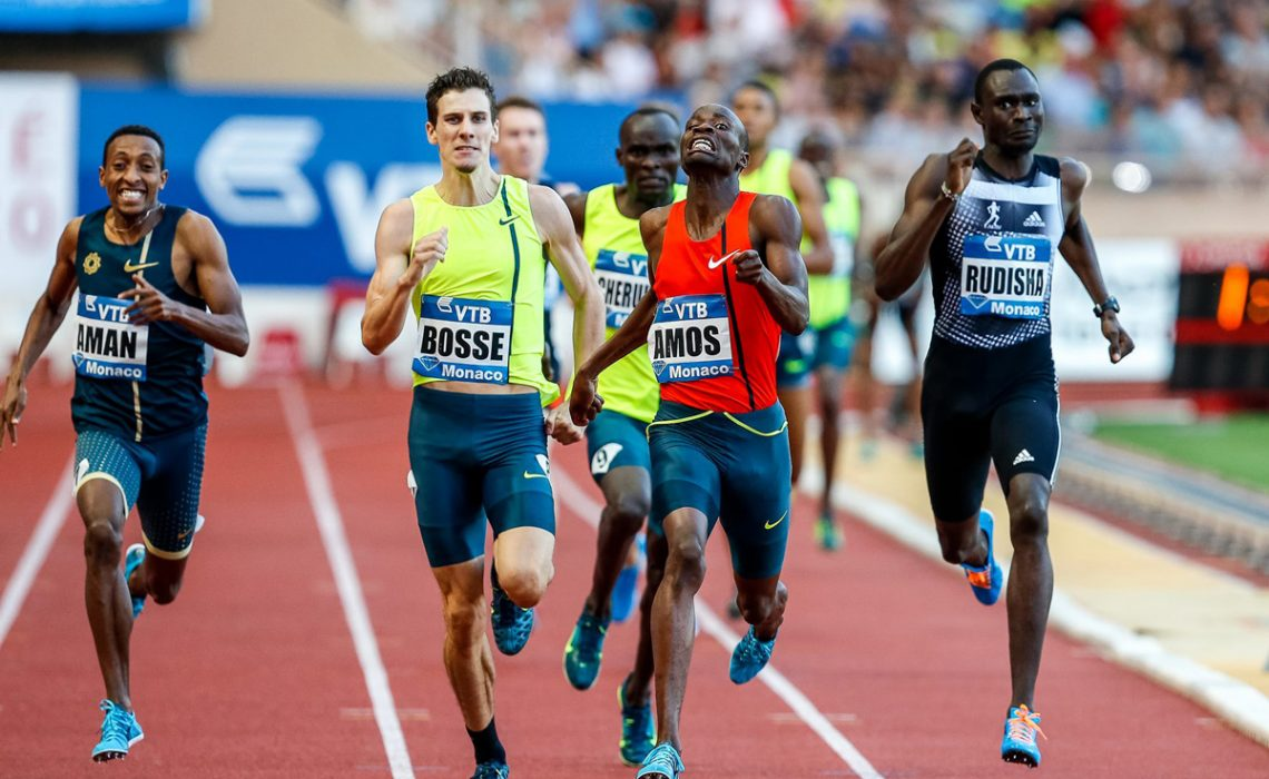 Men's 800m race won by Nijel Amos at the Herculis monaco 2014 - with David Rudisha, Mohammed Aman etc / © Philippe Fitte