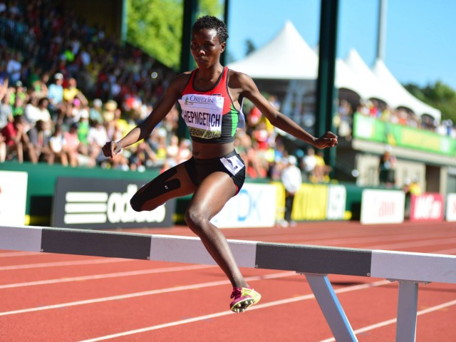 Kenya's Rosefline Chepngetichon her way to a silver medal in the women's 3000m Steeplechase at the 2014 IAAF World Junior Championships - Oregon 2014 / Photo credit: TrackTown