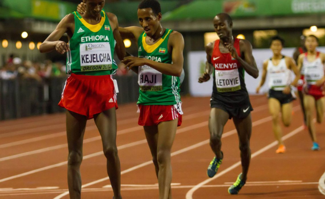 Ethiopia's world youth 3000m champion Yomif Kejelcha after winning the men's 5000m at the 2014 IAAF World Junior Championships - Oregon 2014 / Photo credit: Jeffrey Mercado