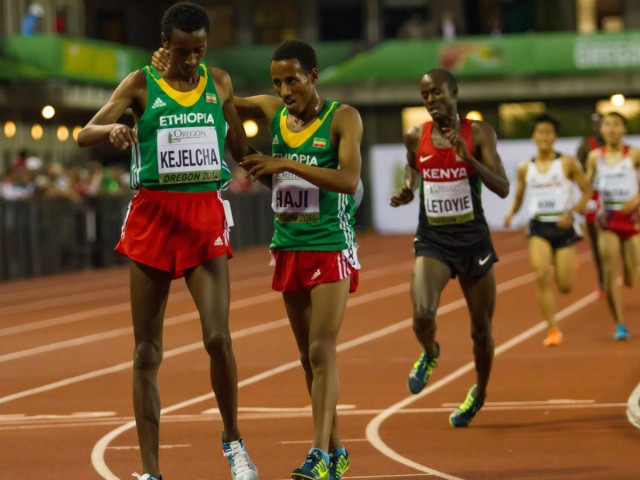 Ethiopia's world youth 3000m champion Yomif Kejelcha after winning the men's 5000m at the 2014 IAAF World Junior Championships - Oregon 2014 / Photo credit: Jeffrey Mercado