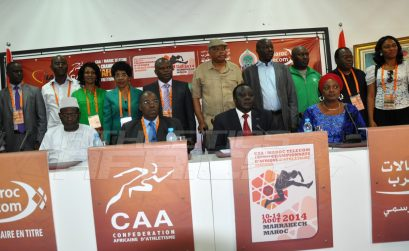 CAA President, Hamad Kalkaba Malboum flanked by Mrs Hauwa-Kulu Akinyemi, Director, Nigerian Sports Commission, CAA Vice President, Theophile Montcho and other dignitaries during the signing ceremony at the Grand Stade de Marrakech/Photo credit: Yomi Omogbeja