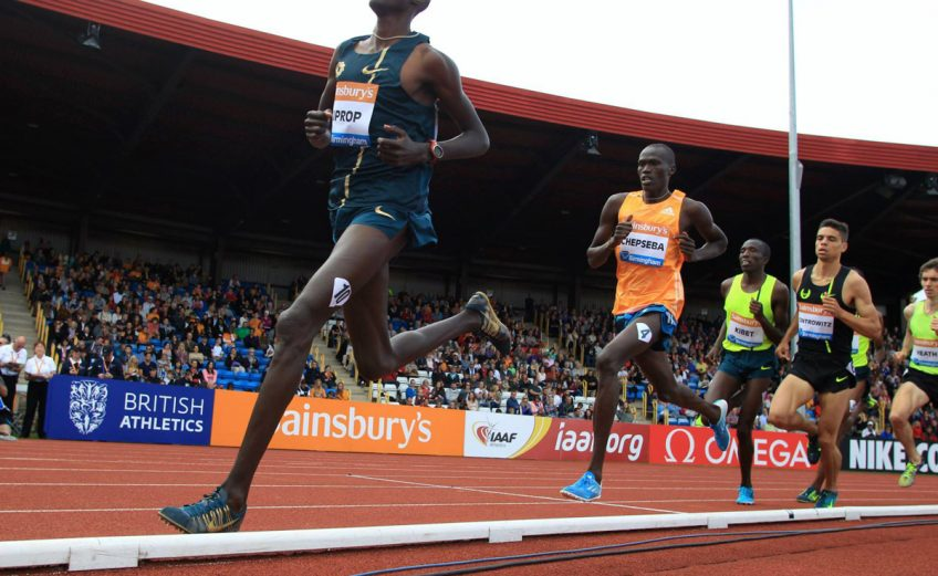 Kenya's Asbel Kiprop wins the men's Emsley Carr Mile in a meeting record time 3:51.89 at Birmingham Grand Prix 2014 / Photo credit: Jean-Pierre Durand