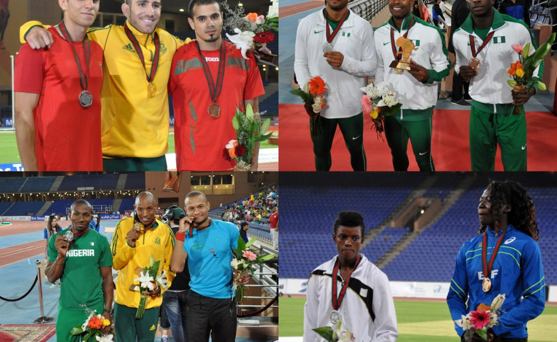 Day 4 winners at the 19th African Senior Athletics Championships in Marrakech 2014 / Photo credit: Yomi Omogbeja