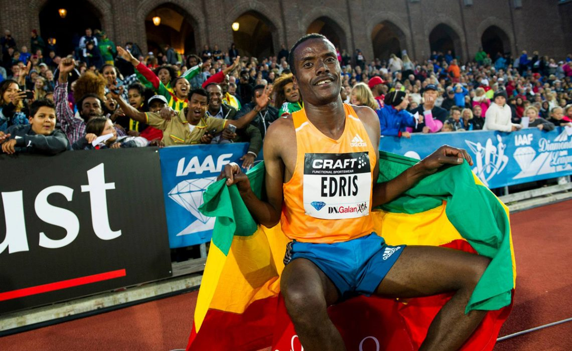 Muktar Edris in front of passionate Ethiopian crowd at the Stockholm IAAF Diamond League 2014 / Photo © Anders & Hasse Sjögren
