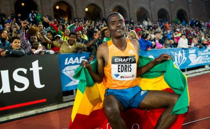 Muktar Edris in front of passionate Ethiopian crowd at the Stockholm IAAF Diamond League 2014 / Photo © Anders & Hasse Sjögren
