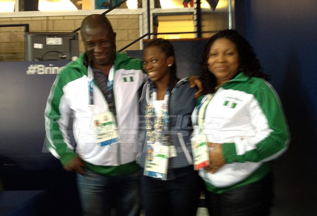 Hon. Gbenga Elegbeleye, DG, National Sports Commission and his wife celebrates with Ese Brume on her golden feat at the Hampden Park in Glasgow / Photo credit: Yomi Omogbeja