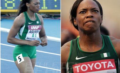 Gloria Asumnu in action for Nigeria at recent international athletics competitions.