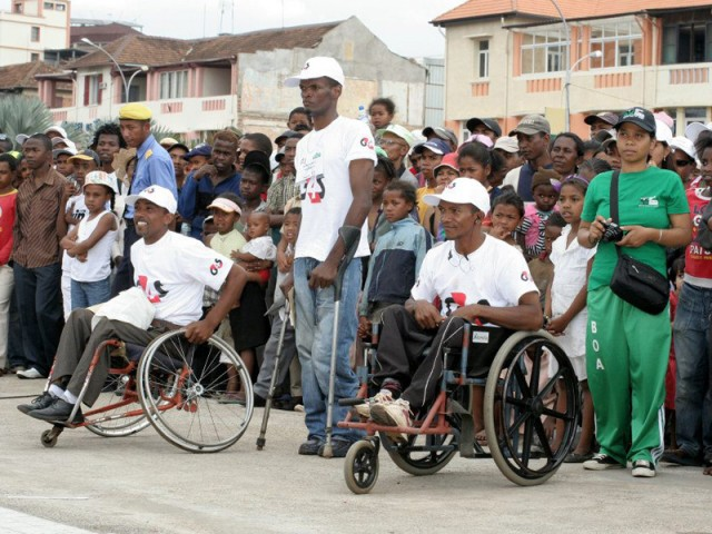 The HandiRun, 5 km race reserved for the physically handicapped in wheelchairs.