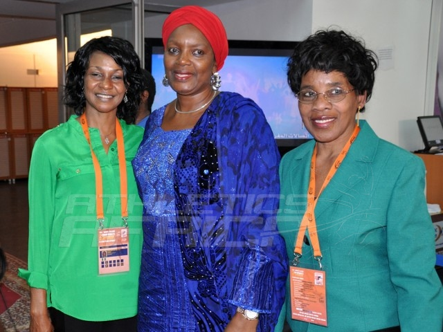 Mrs Hauwa-Kulu Akinyemi, Director, Sports Planning Research and Documentation, NSC, flanked by former African queen of the track, Mary Onyali-Omagbemi and CAA Vice President Violet Odogwu-Nwajei during the signing ceremony at the Grand Stade de Marrakech / Photo credit: Yomi Omogbeja