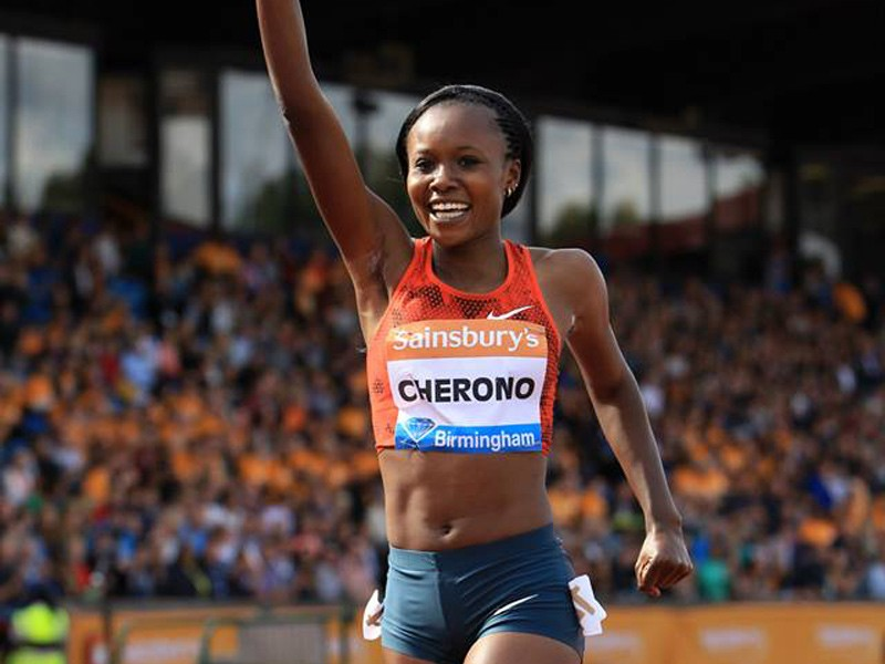 Kenya's Mercy Cherono set a new Diamond League record 9:11.49 to win the women's two miles in Birmingham / Photo credit: Jean-Pierre Durand