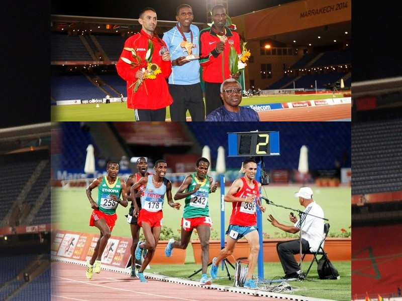 Nguse Amlosom of Eritrea wins the men's 10000m title at the African Championships in Marrakech 2014