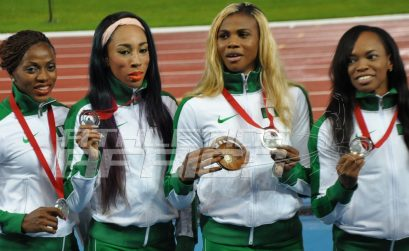 Nigerian women's team of Gloria Asumnu, Blessing Okagbare, Dominique Duncan and Lawretta Ozoh, won the silver medal in 4x100m relay at the 2014 Commonwealth Games in Glasgow. Photo credit: Yomi Omogbeja